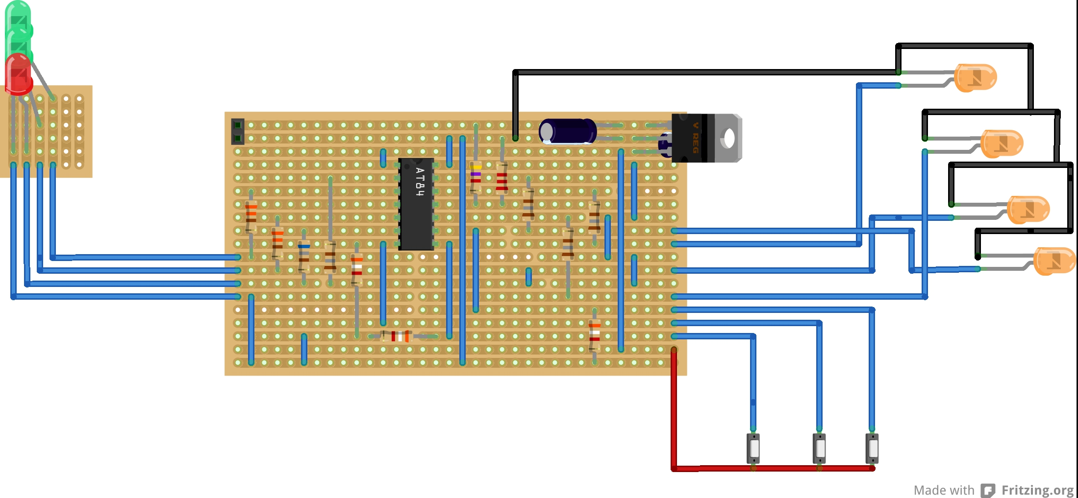 Car Lights Makicity Circuit Diagram Using Breadboard Firtzing Was Used To Create The And Stripboard Layout Created First Which Caused Some Issues When Trying